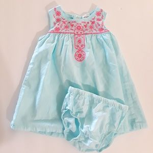 Carter's Pale Turquoise Dress with Pink Embroidery
